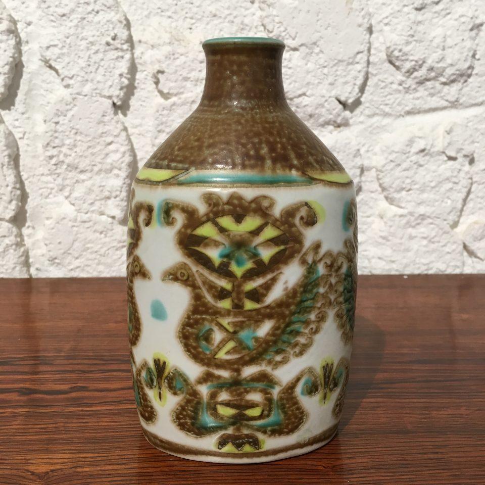 北欧雑貨「鳥文様扁壺花瓶」
