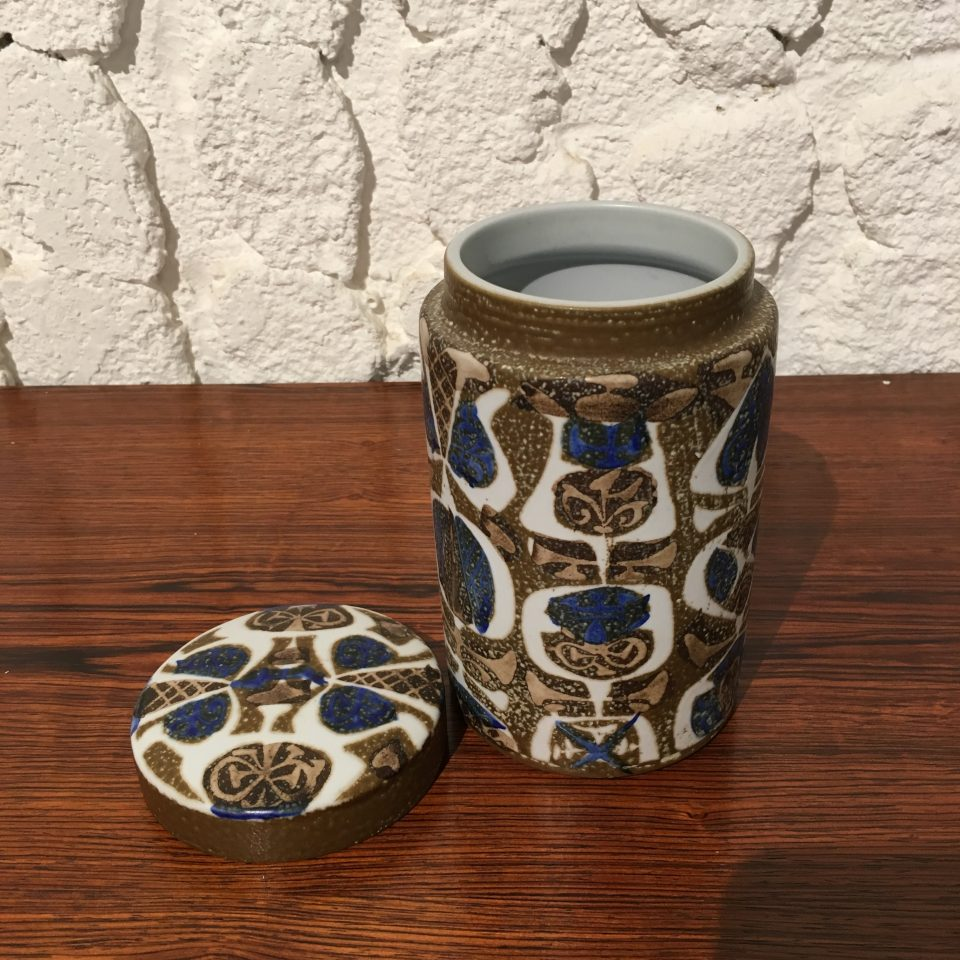 北欧雑貨「青茶釉蓋物」