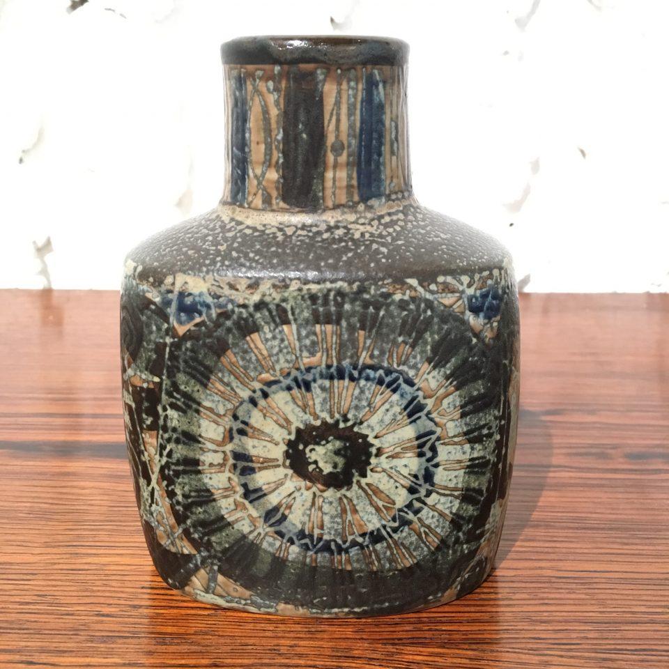 北欧雑貨「花文様扁壺花瓶」