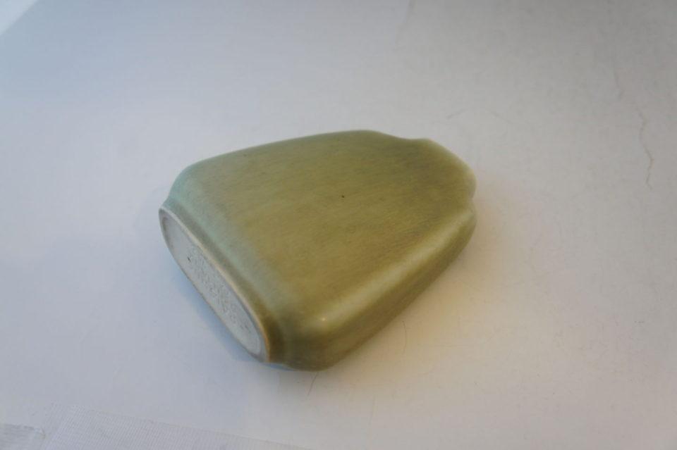 北欧雑貨「白緑釉扁壺花器」